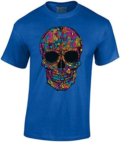 Awkward Styles Men's Black Flower Sugar Skull T-Shirt Day Of The Dead Shirt + Skull Necklace XL Blue