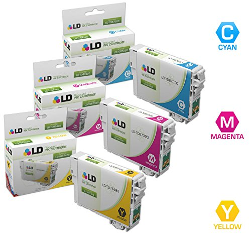 LD Remanufactured Replacement for Epson T087 Inkjet Cartridges Includes: 1 T087220 Cyan, 1 T087320 Magenta, and 1 T087420 Yellow for use in Epson Stylus Photo R1900 (T087420 Yellow Ink)