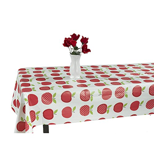 Berrnour Home Vinyl Tablecloth Cute Apple Design Indoor/Outdoor Tablecloth with Non-Woven Backing -