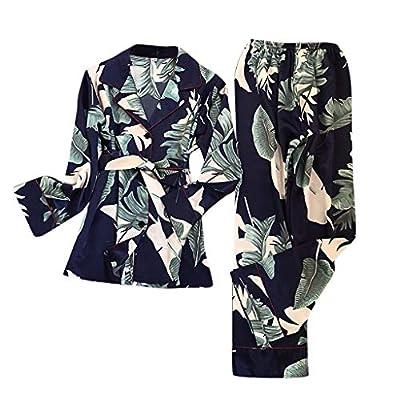 RAINED-Women Simulation Silk Pajamas Print Long-Sleeve Lace Up Tops Long Pants Sleepwear Classic Pajama Set Loungewear