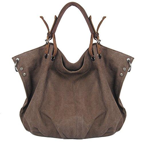Canvas Tote Bag, Boshiho Oversized Vintage Hobo Handbag Women Canvas Shoulder Bag with Genuine Leather Handles (Brown)