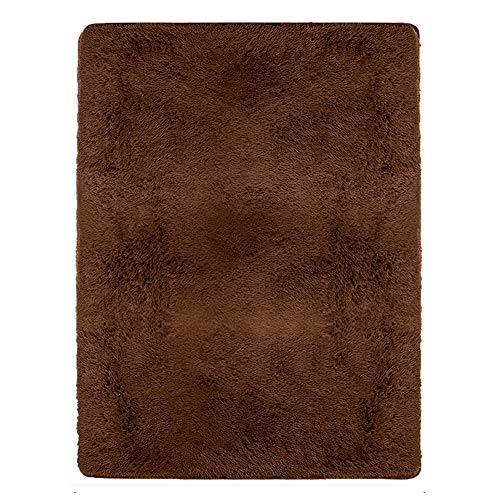 Junovo Indoor Area Rugs for Home Decor, Sound-insulating Carpet for Living Room, 4 Feet x 5.3 Feet, - Brown Room Living Decor