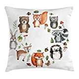 Lunarable Woodland Throw Pillow Cushion Cover, Animals of the Forest with Mushrooms Acorns Circular Frame Cartoon Pastel Colors, Decorative Square Accent Pillow Case, 18 X 18 Inches, Multicolor