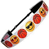 Non Slip Adjustable Headband 'Emoji Basketball' Smiley Faces Girls Basketball Headband by RazzyRoo Headbands
