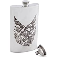 Pewter Engraved Hip Flasks | Silver Jacket Pocket Flask with Funnel Set | Modern, Sophisticated, & Discreet Alcohol Flask Set | Sleek Canteens That Hold Whiskey, Rum, Scotch, & Vodka | 8 0z of Liquor