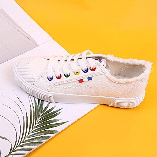 Flavour tres para Tamaño desgaste Style de de suave lona al Slip elegir Color de de Harajuku Blanco mujer zapatos lona de FEIFEI colores de Blanco verano inferior coreana Zapatos versión resistente Zzx4wqWgC