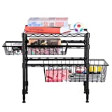 Rackaphile Stackable 2 Tier Sliding Basket Organizer Drawer, Under Sink Cabinet with Adjustable Leveling Feet, Rack Shelf for Bathroom Kitchen Closet Office Desktop, Black