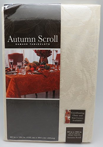 - Autumn Scroll Damask Tablecloth (60 x 104 Inches, Ivory Color) Oblong Seats 8 to 10 People