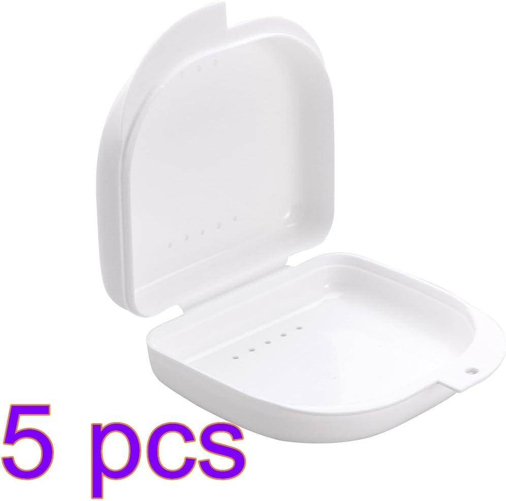 ROSENICE Caja de Dentadura Caja para Ortodoncia dental Protector Bucal de Prótesis 5 Piezas (Blanco): Amazon.es: Salud y cuidado personal
