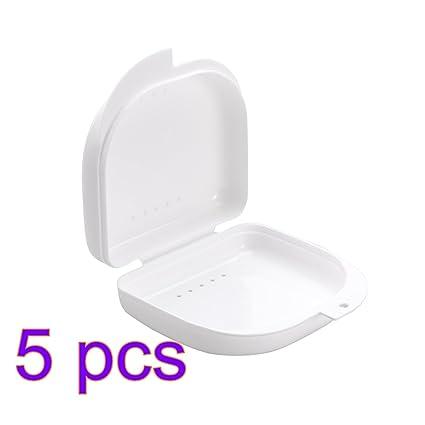 47831d3b7f3 ROSENICE Caja de Dentadura Caja para Ortodoncia dental Protector Bucal de  Prótesis 5 Piezas (Blanco