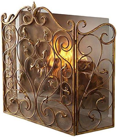 暖炉スクリーン ホーム3パネル暖炉スクリーン - 現代のゴールドスパークフレイムガードインテリア - ベビー&ペットの安全性暖炉フェンス
