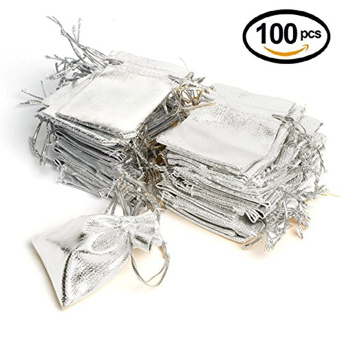 Wuligirl 100pcs Drawstring Packages Gift Bags 5 x 7 Inch Watches Jewelry Lipstick Pouches Baby Shower Party Wedding Favor Cookies Candy Gift Bag(Silver 5x7'') (Silver Pouch)