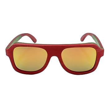 HAOYUXIANG Retro Polarisierte Skateboard-hölzerne Farben-Film-Sonnenbrille,CoffeeBox