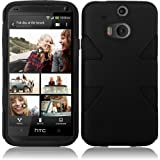 Cell Accessories For Less (TM) For HTC One M8 Dynamic Slim Hybrid Cover Case - Black+Black + Bundle (Stylus & Micro Cleaning Cloth) - By TheTargetBuys
