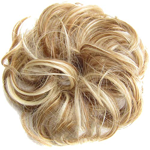 Honghii Hair Bun Hairpiece Ribbon Ponytail Extensions Wavy Curly Messy Donut Chignons Piece Wig Ash Blonde Rubber