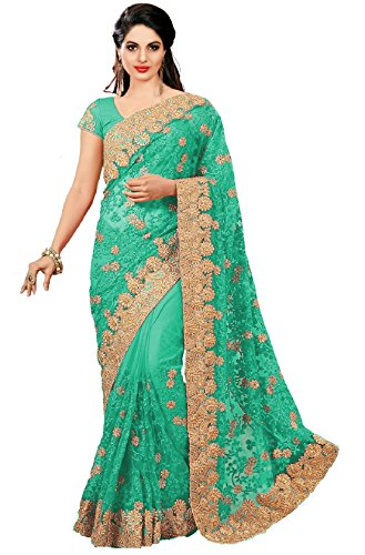 Nivah Fashion Women's Full 'Net' Havy Embroidery Work With Diamond's Material Saree (Green).K681A