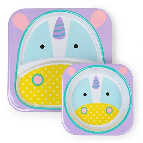 Skip Hop Baby Zoo Little Kid and Toddler Feeding Melamine Divided Plate and Bowl Mealtime Set, Multi Eureka Unicorn