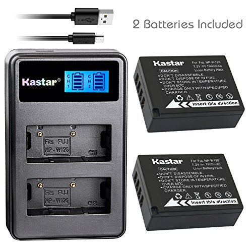 Kastar Battery (X2) & LCD Dual Slim Charger for Fujifilm NP-W126 NP-W126S and FUJIFILM X-Pro2 X-Pro1 X-T2 X-TX-T10 X-E2S X-E2 X-E1 X-M1 X-A10 X-A3 X-A2 X-A1, FinePix HS50EXR HS30EXR HS33EXR Cameras