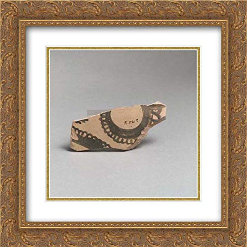 Minoan Culture - 20x20 Gold Ornate Frame and Double Matted Museum Art Print - Terracotta Vessel Fragment with curvilinear Decoration
