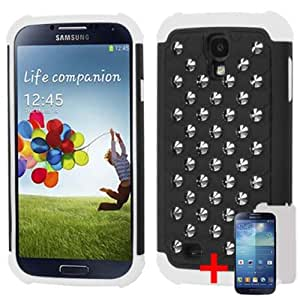 SAMSUNG GALAXY S4 BLACK WHITE BUMPER HYBRID METAL STUD COVER HARD GEL CASE + FREE SCREEN PROTECTOR from [ACCESSORY ARENA]