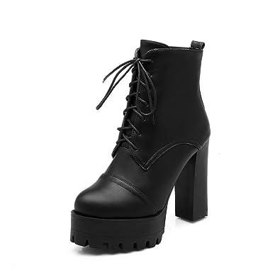 Ladies Chunky Heels Bandage Rivet Black Imitated Leather Boots - 7.5 B(M) US