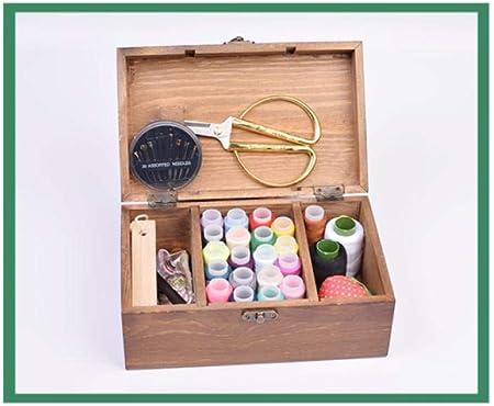 Juego de cajas de costura, kit de costura, caja de costura de hilo de coser para el hogar, herramienta de punto de cruz, caja de costura de madera sólida@A2: Amazon.es: Hogar