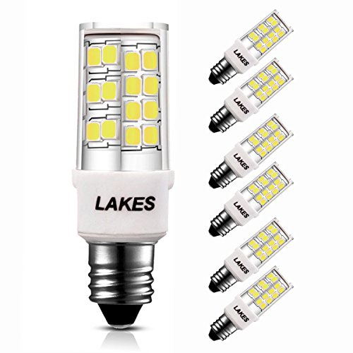 LAKES 0-100% Dimmable E11 LED Bulbs, 450Lm 6000K Daylight, 4.5W Mini-candelabra Edison Screw, Replace 35W-45W Halogen Bulb, 360° Beam Angle, CRI>85, Pack of 6 Units