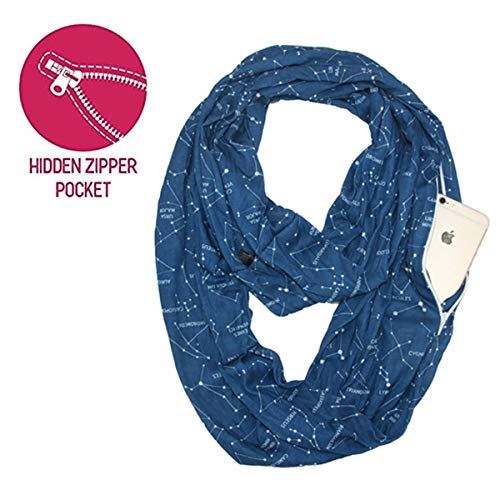 Lucky Leaf Women Lightweight Cozy Infinity Loop Scarf with Various Artist Print (Stars-Navy)