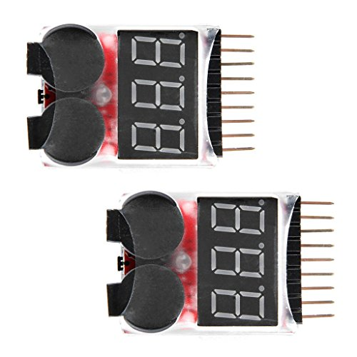WINGONEER 2PCS RC Lipo Battery Monitor Alarm Tester Checker Low Voltage Buzzer Alarm with LED Indicator for 1-8 S Lipo LiFe LiMn Li-ion Battery ()