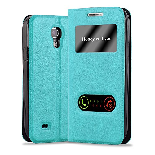 Cadorabo - Book Style Wallet for Samsung Galaxy S4 in View Design with 2 Viewing Windows, Stand Function and invisible Magnetic Closure - Etui Case Cover Protection in MINT-TURQUOISE
