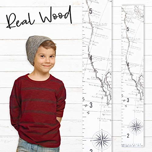 Growth Chart Art | Wooden Map Growth Chart for Kids [Boys & Girls] - Children's Room Décor Height Chart | West Coast Map White ()