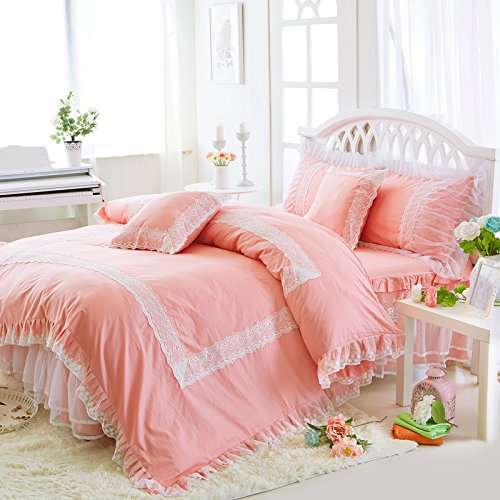 Lotus Karen Pink Korean Bedding Sets Girls Princess Duvet Cover Sets Cotton Solid Candy Color Romantic White Lace Ruffle 4Pc Bedding Sets-,1Duvet Cover,1Bedskirt,2Pillowcases,King Queen Full Twin (Cotton Candy Princess)