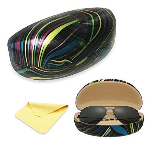 Yulan Hard Shell Sunglasses Case,Classic Extra Large Case for Oversized Sunglasses and - Eyeglasses Zebra