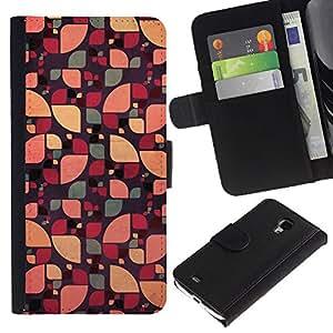 LASTONE PHONE CASE / Lujo Billetera de Cuero Caso del tirón Titular de la tarjeta Flip Carcasa Funda para Samsung Galaxy S4 Mini i9190 MINI VERSION! / sun pattern floral abstract green color