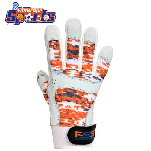 FullScope Sports Pro Super Grip Softball Baseball Batting Gloves for boys men women adult & youth (Orange/Gray/White Digital Camo) Youth Large (Ages 8-10 yrs old) by FullScope Sports