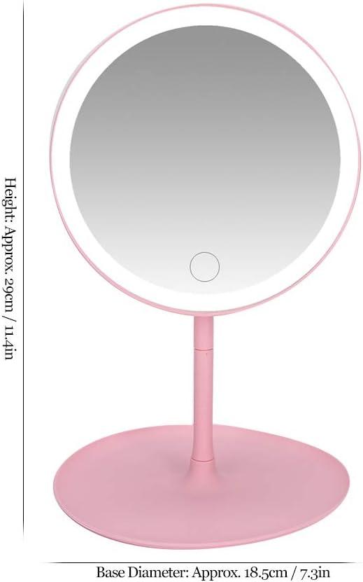 rosa espejo cosm/ético Espejo de maquillaje con luz LED interruptor de toque USB giratorio de 90 grados espejo de tocador redondo port/átil