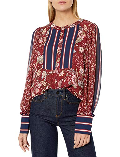 BCBGMAXAZRIA Women's Mixed Print Blouse, Deep Red-Floral to, XS from BCBGMAXAZRIA