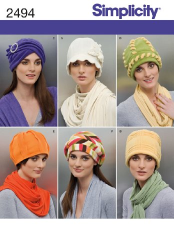Simplicity Pattern 2494 Misses Fleece Hats in Three Sizes S (21