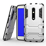 MOONCASE Moto X Play Case Detachable 2 in 1 Hybrid Armor Case Dual-Layer Shockproof Case Cover with Built-in Kickstand for Motorola Moto X Play Silver