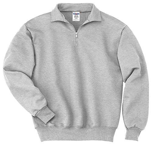 Jerzees mens 9.5 oz. 50/50 Super Sweats NuBlend Fleece Quarter-Zip Pullover(4528)-ASH-M (Pullover Zip Fleece Quarter)