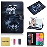 Elepower Folio Case Fit Samsung Galaxy Tab A 10.1 2019, Premium Leather Flip Stand [Card/Money Slots] Magnet Protective Cover Pattern Case for Galaxy Tab A 10.1 Inch T510/T515 Tablet, Wolf and Dog
