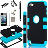 iPod Touch 5 Case, - SQdeal 6in1 Pack 3 Layer Hard and Soft Hybrid Armor Defender Sports Combo Case for Apple iPod Touch 5 iTouch 5th Generation, with Screen Protector, Touch Pen, Earphone, Fish winder and Dust Plug (Black/Blue)
