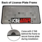 ICBEAMER Black Carbon Fiber License Plate Frame Tag Snap for All Vehicle Truck SUV Mini Van Front Rear [Pack of 1