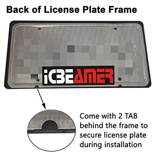 ICBEAMER Waterproof Black Plastic + Gloss Carbon Fiber on top Auto Vehicle Truck Van License Plate Frames by ICBEAMER (Image #6)
