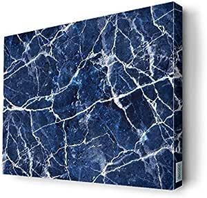 لوحة جدارية كانفس تصميم أزرق وأبيض، 40 x 30سم - 19077