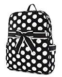 Large Quilted Polka Dots Print Backpack - Black/White (12X15X5.5)