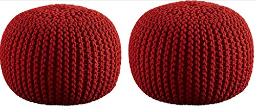 Aron Living WM1054-2-Red Hand Knitted Pouf Floor Ottoman, Red by Aron Living