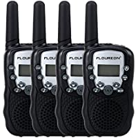 Floureon Twin Walkie Talkies Toy 22 Channel FRS/GMRS UHF462-467MHz 2-Way Radio 3KM Range Interphone for Kids Children Outdoor Camping Hiking (4 Packs, Black)