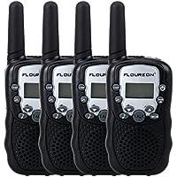 Floureon Twin Walkie Talkies Toy 22 Channel FRS/GMRS UHF462-467MHz 2-Way Radio 3KM Range Interphone for Kids Children Outdoor Camping Hiking (4 Packs, Black)