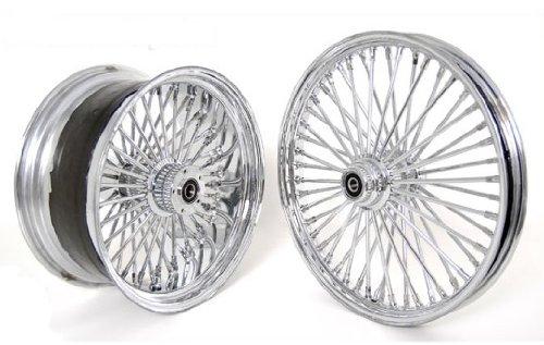 Set of Chrome Fat Mammoth 48 Spokes Wheels 21 x2.15 18x8.5 for Custom 250 Harley